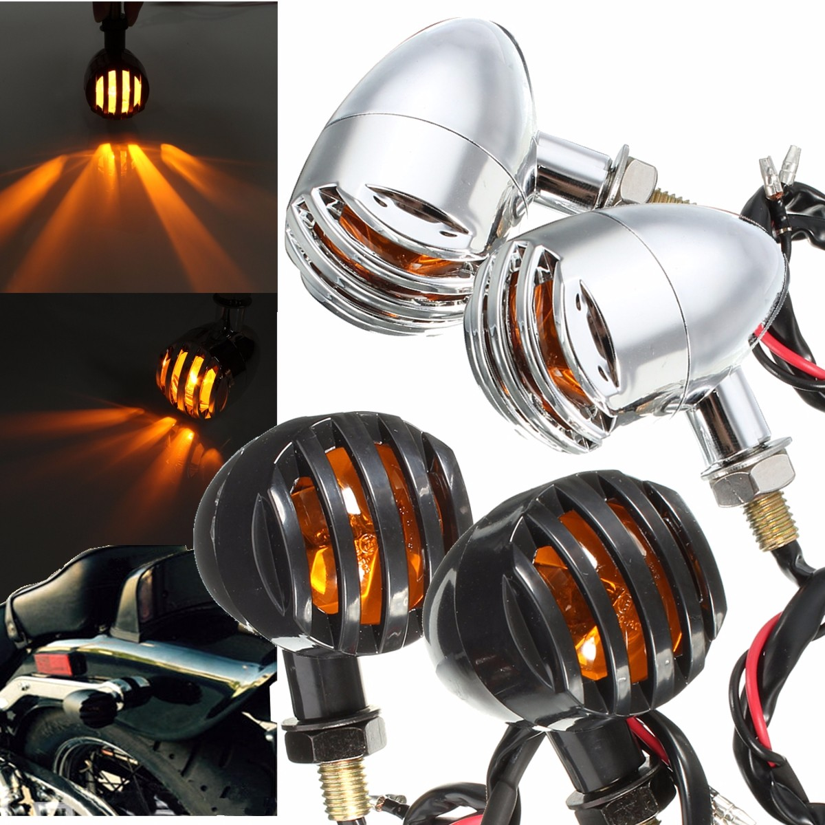 1 Pair 12V 5W Chrome Black Plastic Amber Motorcycle Grill Bullet Indicator Turn Signal Lights