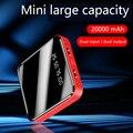 Мини Внешний аккумулятор 20000 мАч  портативное зарядное устройство с быстрой зарядкой  светодиодный двойной USB внешний аккумулятор для Xiaomi Mi ...