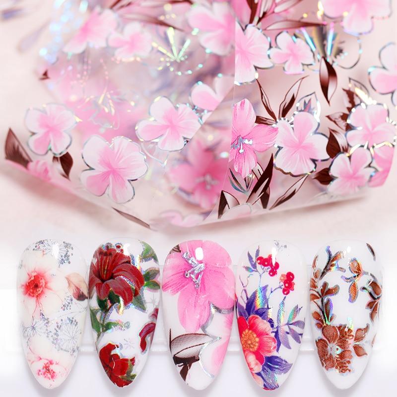 100x4cm Nail Foils Flower Series  Nail Art Foils Paper Nail Art Transfer Sticker Slide Decals Nails Accessories 1 Box