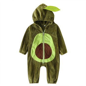 Cute Baby Boys Girls rompers Autumn Winter stylish Avocado pattern babys jumpsuit Hooded infant outerwear Newborn Kids Clothes winter newborn rompers baby girls boys cotton infant hooded warm overalls clothes kids high quality cartoon jumpsuit outerwear