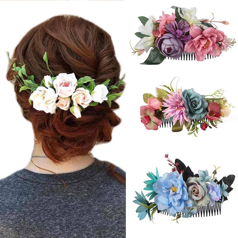 Haimeikang New Fashion Head Comb Artificial Flower Head Comb Party Wedding For Women Elegant Headdress Festival Hair Accessories