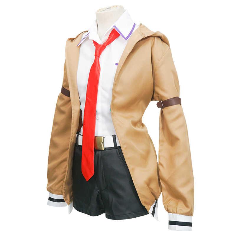 シュタインズ · ゲート牧瀬紅莉栖コスプレ衣装フルセットクリスティーナ制服 (ジャケット + シャツ + ショートパンツ + ベルト) 毎日衣装