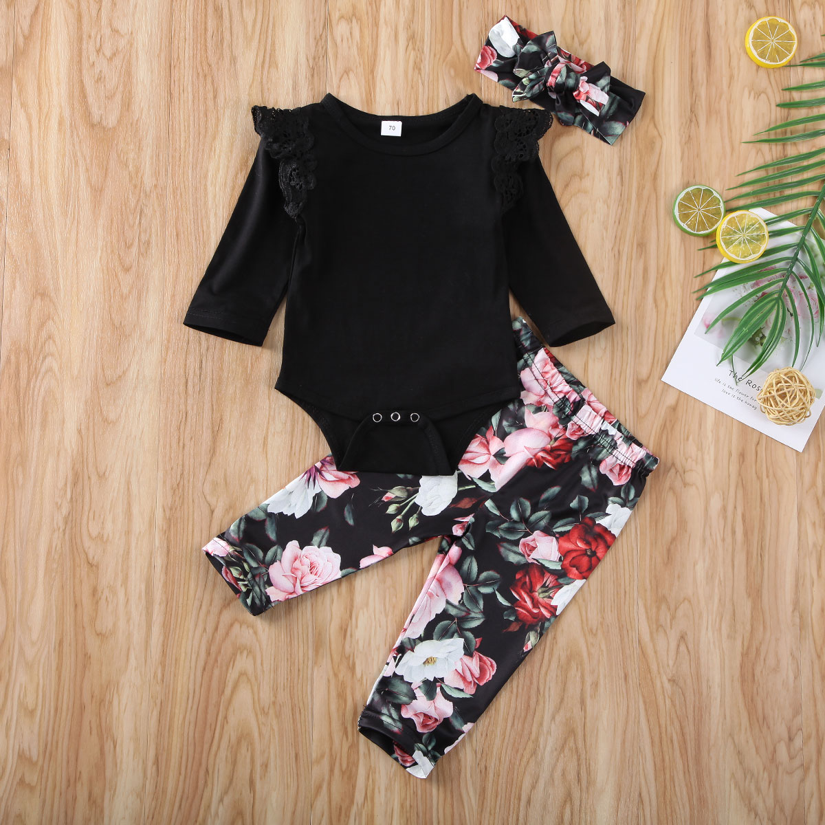 Emmababy Newborn Baby Girl Clothes Solid Color Lace Fly Sleeve Romper Tops Flower Print Long Pants Headband 3Pcs Outfits Set
