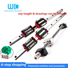 HGR20 Square Linear guides rail 2set HGR20+guide block HGH20CA+SFU1605 ball screw 5mm lead screw+ BK12BF12cnc linear actuator