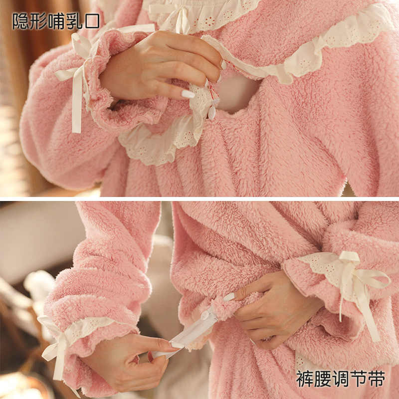 Musim Dingin Wanita Hamil Nurning Piyama Set Perempuan Manis Renda Penebalan Flanel Maternity Menyusui Baju Tidur Set