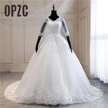 Echte Foto Kant Geborduurde Organza Tulle Sweetheart Off Wit Ivoor Fashion 100 Cm Lange Trein Trouwjurk Bruiden Plus Size 75