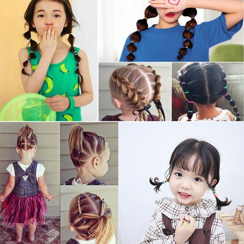 50/100/200 Pcs/Bag Children Cute Candy Cartoon Solid Elastic Hair Bands Girls Lovely Srunchies Rubber Bands Kid Hair Accessories
