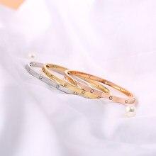Rosa ouro pulseiras de parafuso feminino pulseiras não & 4 & 10 pedras 3.65mm aço inoxidável moda jóias sem caixa