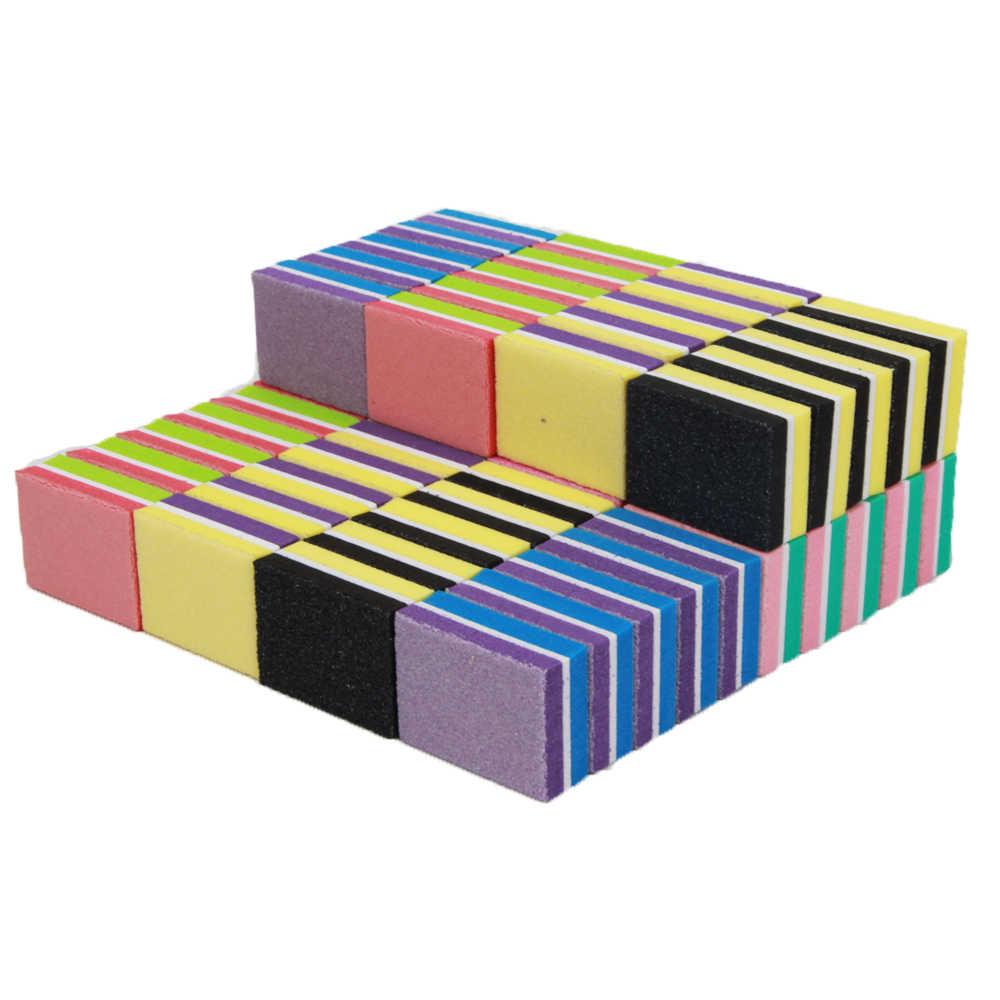 Nouveau 500 pièces/paquet mélange Mini ponçage éponge lime à ongles 100/180 carré nagel vijlen professionnel soins des ongles accessoires outils fichiers