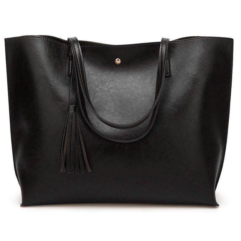 Large PU Leather Woman Handbag, Tote Bag Shoulder Crossbody Single Shoulder Bags (Black)