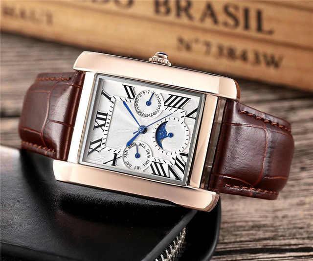 Znany projektant mody gorąca sprzedaż mężczyzna damski zegarek markowy pasek skórzany na co dzień nowa sukienka luksusowy zegarek kwadratowy zegarek Relojes