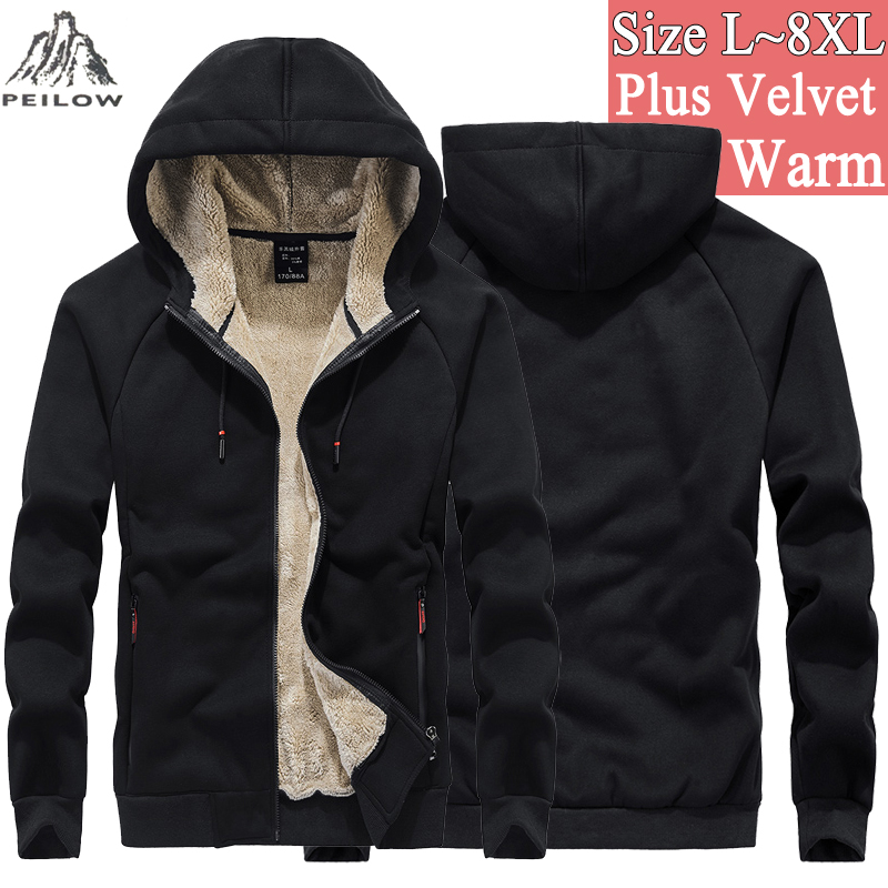 Sweatshirts Mens <font><b>6XL</b></font> <font><b>7XL</b></font> <font><b>8XL</b></font> Winter Thicken fleece streetwear hip hop Hoodies Sweatshirt Men soild color Coats Sudadera Hombre image