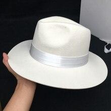 Herfst/Winter Wol, witte Vrouwelijke Jazz Cap Hoed Panama Hoed Mode Platte Dakrand Van Engeland Gentleman Gecontracteerd Hoed Voor Man Fedora