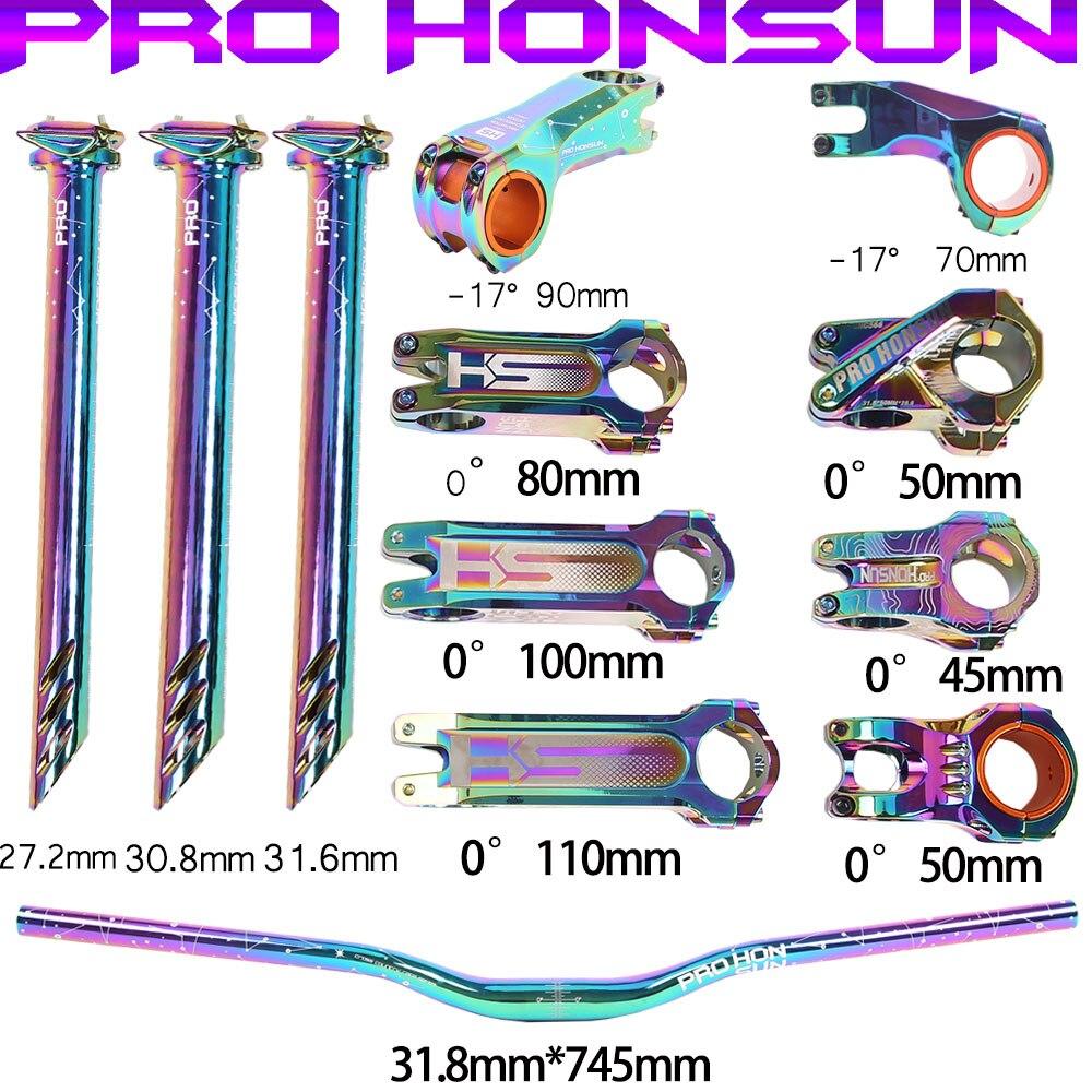 PRO HONSUN Bicycle Stem Handlebar Seatpost Colorful Negative Angle -17° 0° 50mm 70mm 90mm Short  Stem 27.2/30.8/31.6mm Seatpost