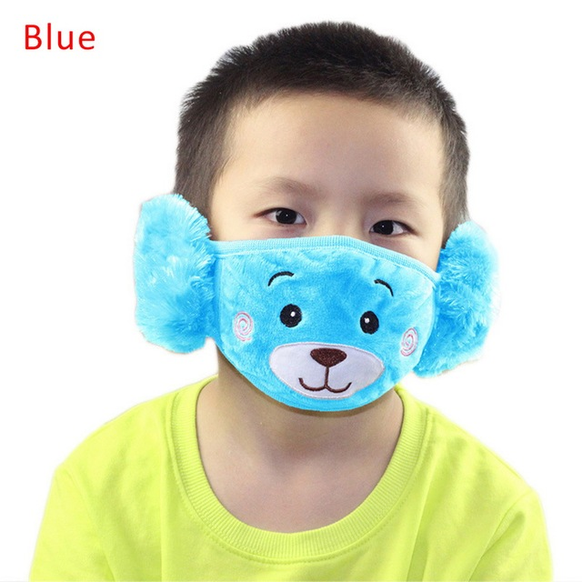 Cute bear Ear Protective Kid Mouth Mask Flu Windproof Mouth-muffle Anti Dust Winter Masks Children Anti Haze Cotton Face Mask 2