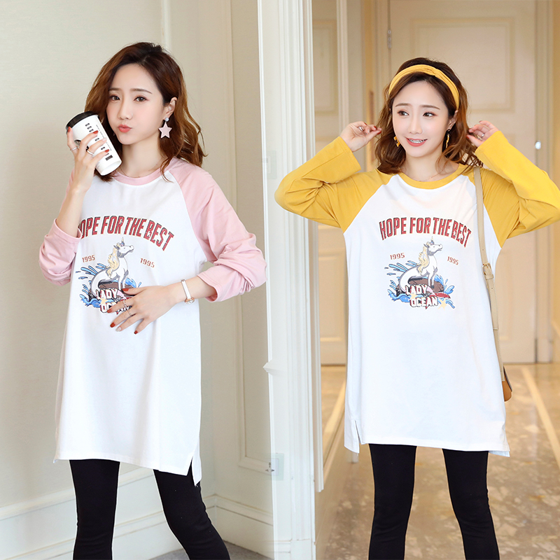 2019 платье для беременных женщин, новый стиль, корейский стиль, с длинными рукавами, футболка с длинными рукавами