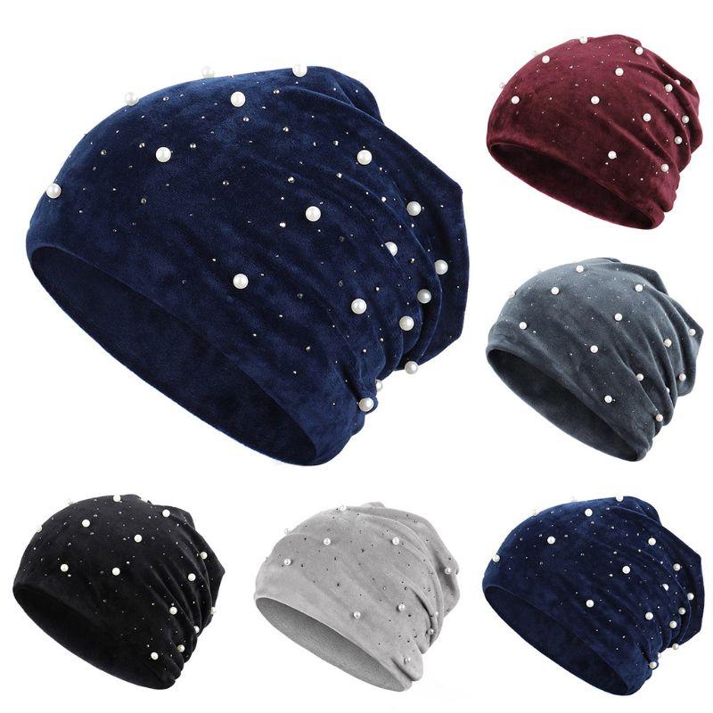 Women Skullies Winter Velvet Hat Beanies Soft Warm Shiny Pearls Rhinestones Hats