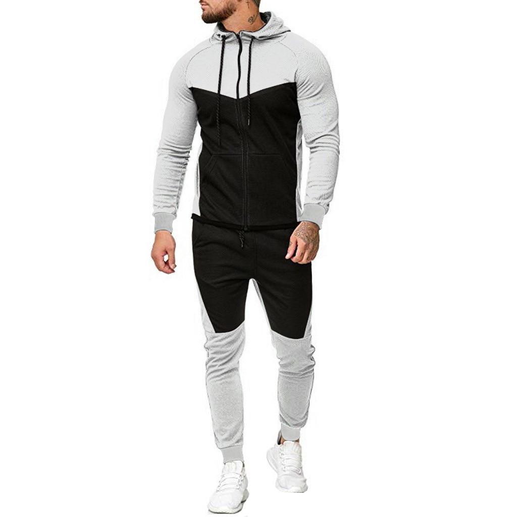 Mens Spring Autumn Splicing Zipper Suit Print Pants Sets Sport Tracksuit Casual Sport Patchwork Stylish Fitness Suit