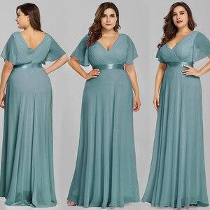 Image 4 - בתוספת גודל שמלות נשף אי פעם די אלגנטי אונליין כפול V צוואר ראפלס אלגנטי שיפון צד פורמלי שמלות Robe De Soiree 2020