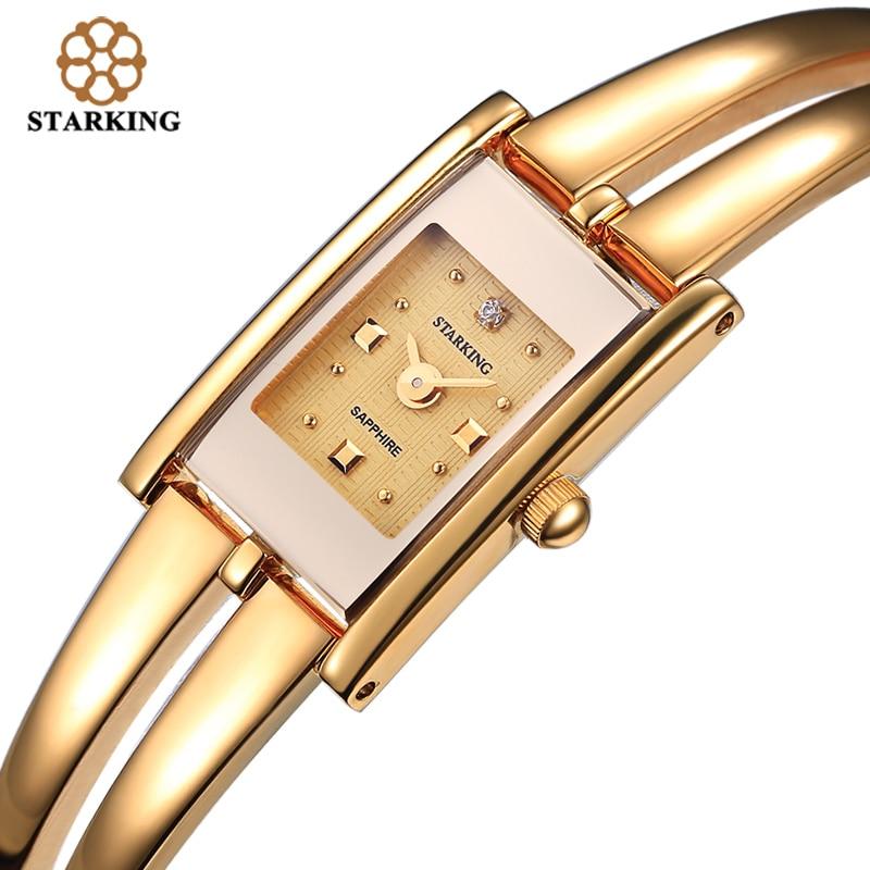Saatler'ten Kadın Saatleri'de STARKING lüks marka moda kadın quartz saat altın bilezik izle Retro lüks tasarım dikdörtgen basit bilek saatler kadın title=