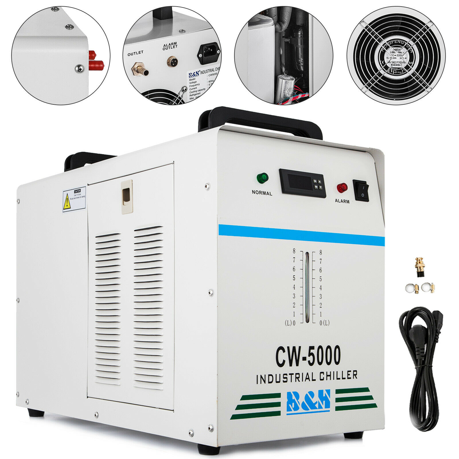 <font><b>CW</b></font> -<font><b>5000</b></font> Industrial water cooler Cooler Co2 Laser hose <font><b>Chiller</b></font> 6L tank image