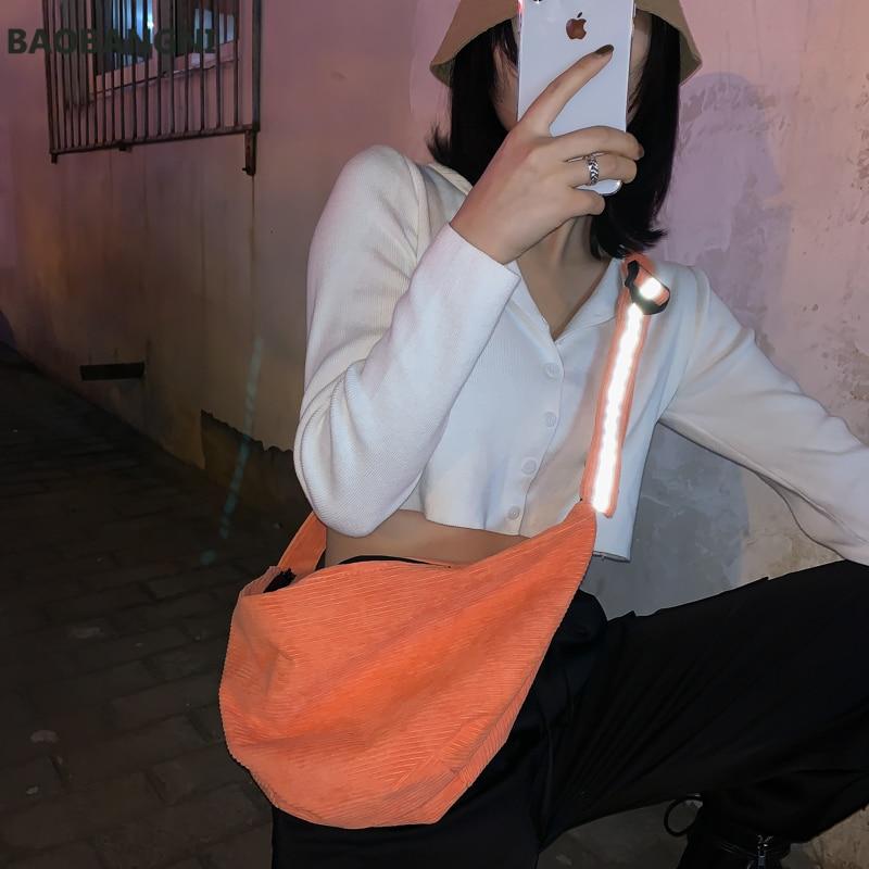 Corduroy Women's Handbag Female Noctilucent Striped Crossbody Bag Multifunction Large Capacity Zip Shoulder Bag Phone Bag Purse