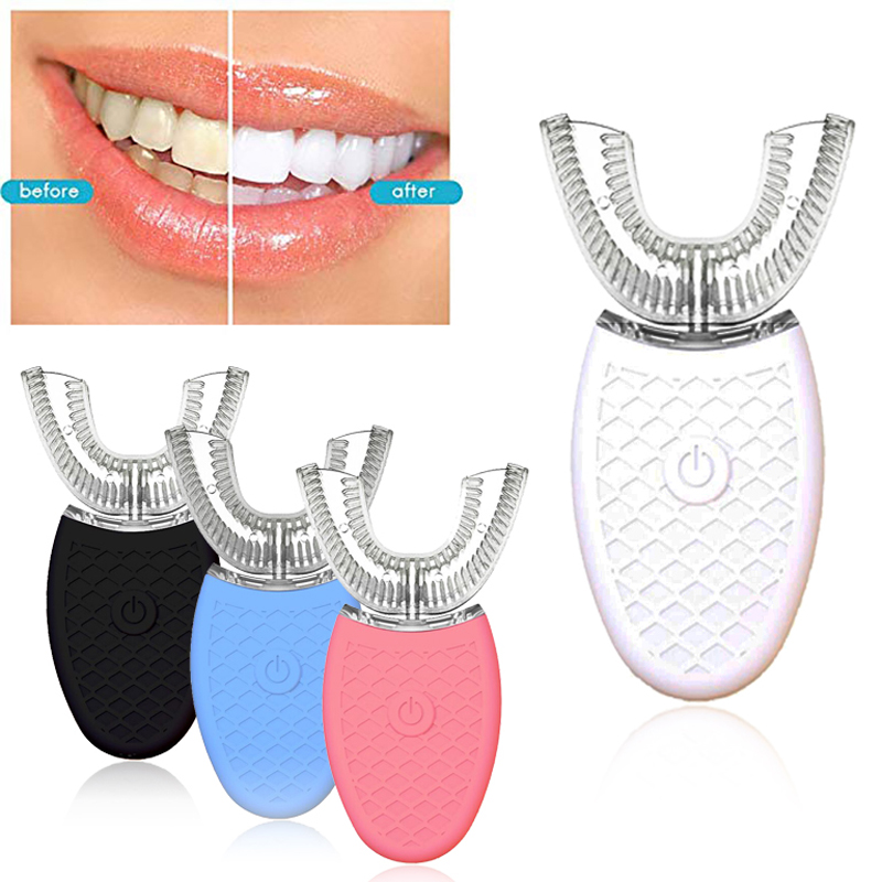 360 Degrees U Type Automatic Electric Toothbrush High Frequency Ultrasonic Vibration Blue Light Whiten Teeth Silicone Brush Head