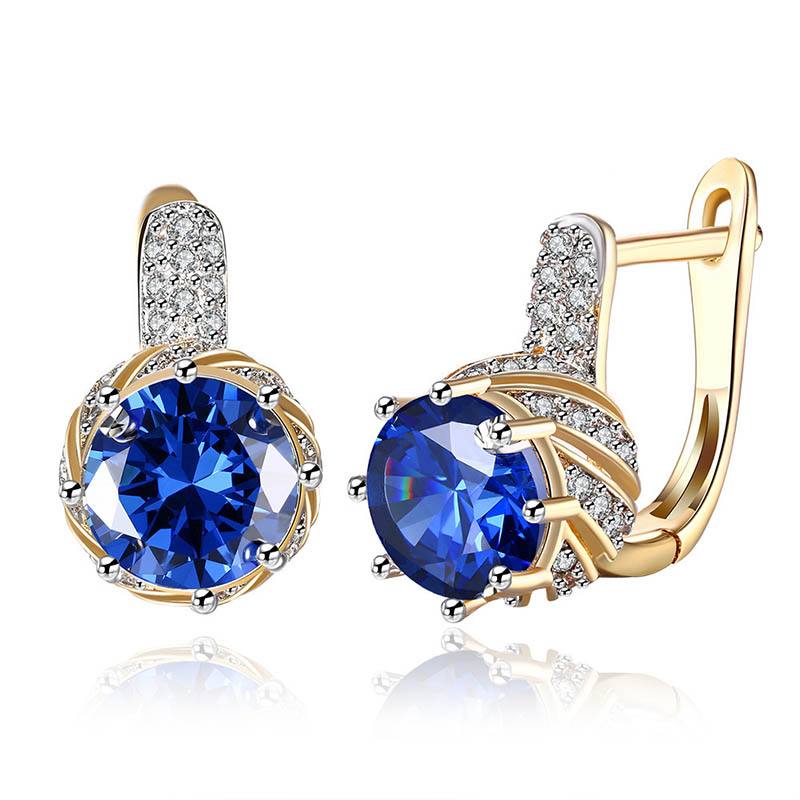 Cellacity Silver 925 Jewelry Gemstones Earrings for Women Round Sapphire Amethyst Zircon 4 Colors Choice Female Ear drops Party