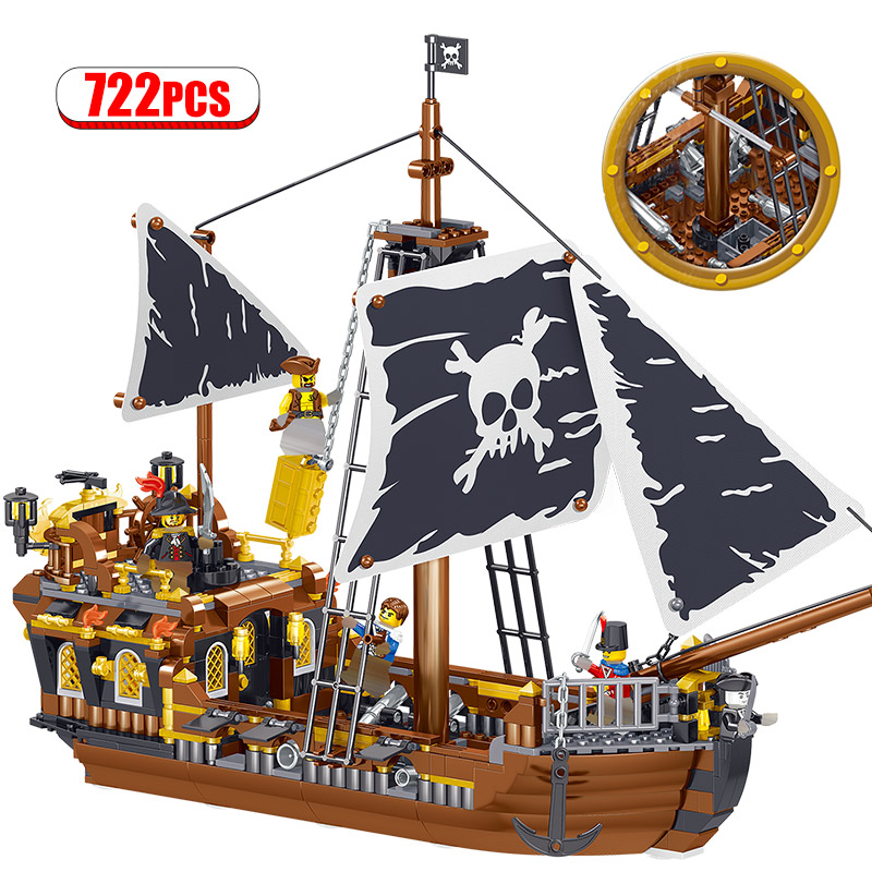722PCS Creatored Technic Caribbean Pirate Sailing Blocks 3D Model  Ship Boat DIY Building Diamond Blocks Bricks Kids Toys