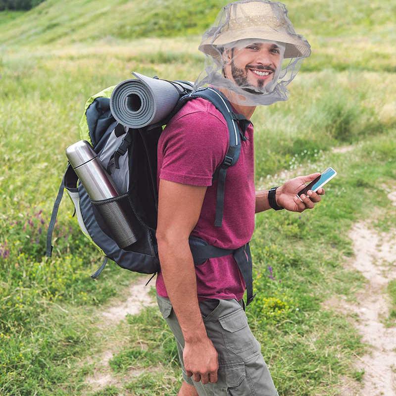 Di Notte all'aperto Berretto di Pesca Insetto a prova di Zanzara Netto Crema Solare Da Campeggio Trekking Cappello Gli Uomini e Le Donne Anti-bee Cap parasole Maschera