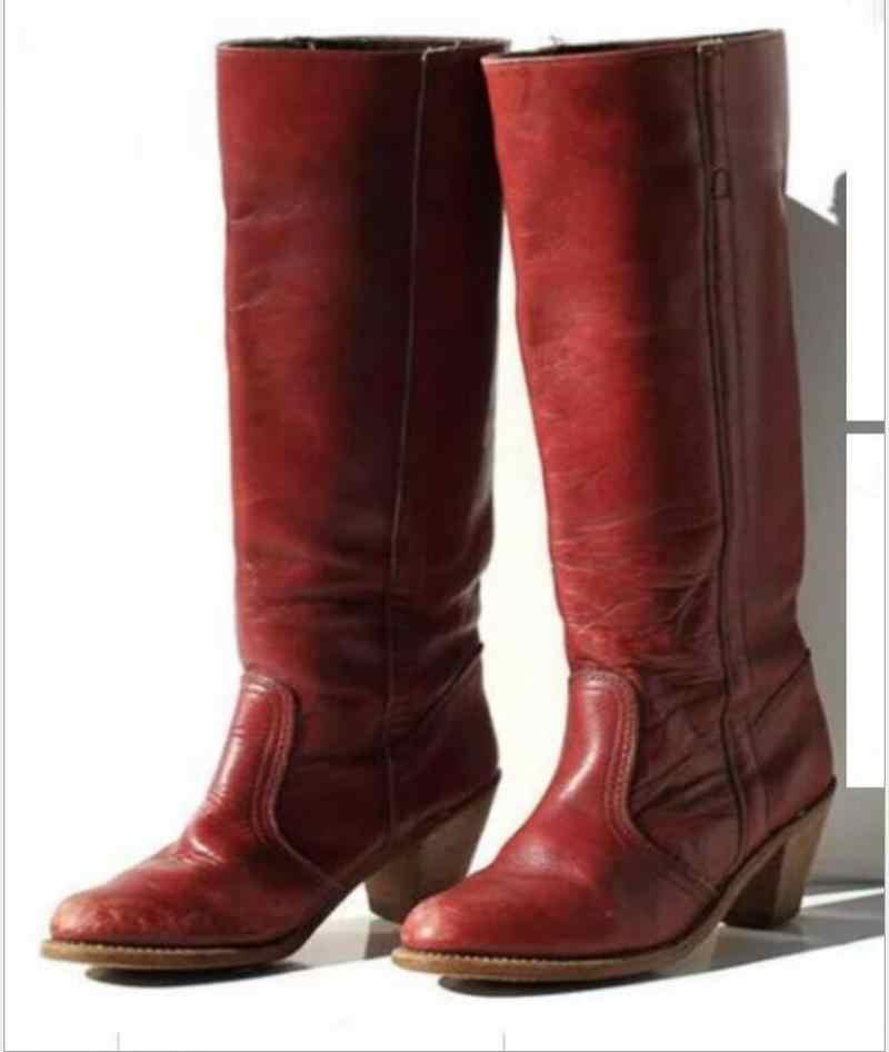 Kobiety buty do kolan gladiatorki na wysokim obcasie zima śnieg ciepłe buty botki w stylu vintage PU skórzane slip on buty botas mujer HP2672