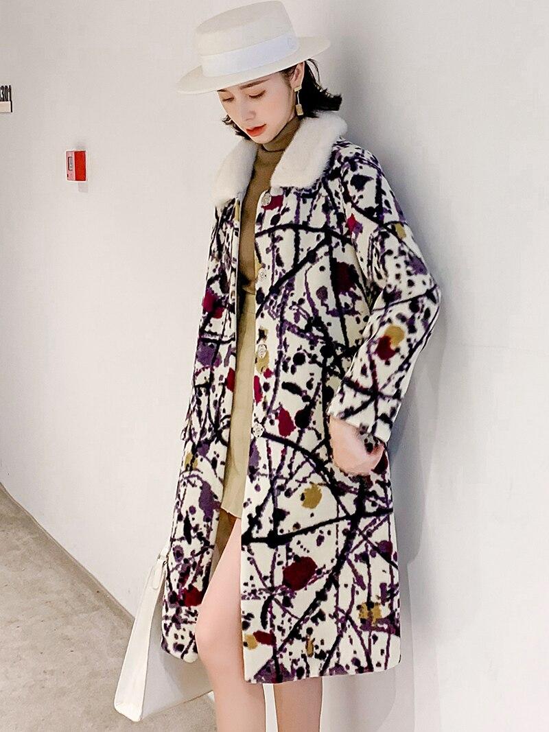 Real Fur Coat Female Floral Vintage Mink Fur Collar Sheep Shearing Jacket Women Clothes 2019 Korean Wool Coats Hiver 2004