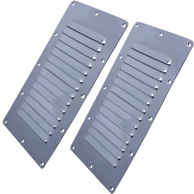 A Pair 23.0cm*11.50cm Louvred Stainless Steel Square Air Vent Grille Metal Wall Ventilation