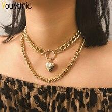 Youvanic punk ouro coração medalhão pingente gargantilha colar para mulher clavícula em camadas curto grosso corrente colares pescoço jóias 2340