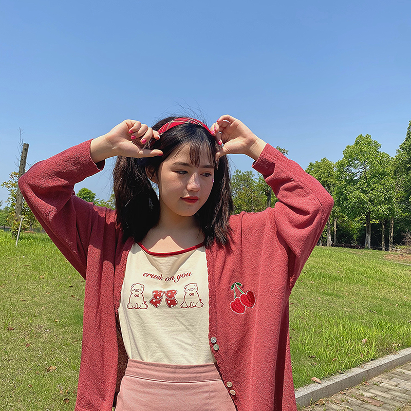2020 new Summer Cute Cherry Embroidery Loose Sunscreen Coat Women Thin Breathable V-neck Sweet Casual Jacket College style image