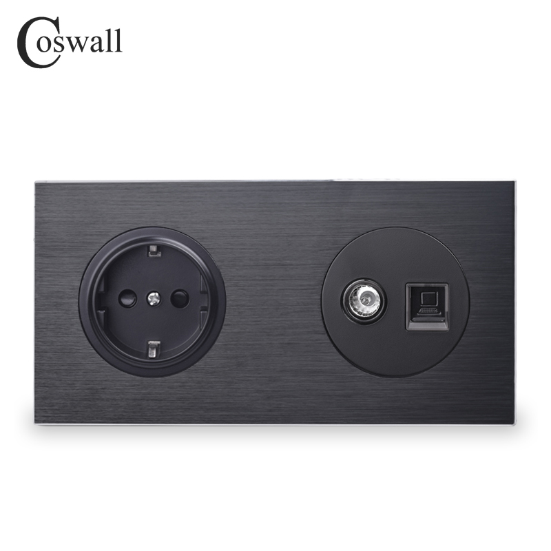 Coswall Aluminum Panel Black EU Standard Wall Socket + Female TV Connector With CAT5E RJ45 Computer Jack 172*86mm R12 Series