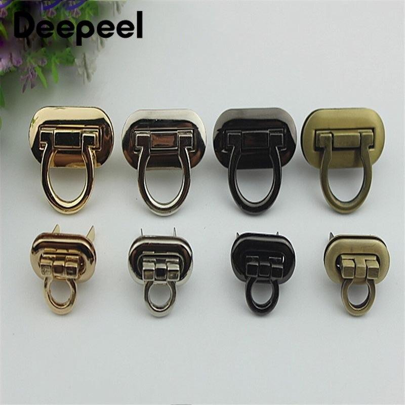 2pcs Deepeel Metal Bag Buckle Snap Clasps Turn Lock Twist Lock DIY Purse Handbag Closure Bags Button Part Hardware Accessories