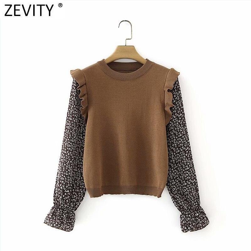 Zevity 2021 Women Fashion Print Chiffon Sleeve Patchwork Knitting Smock Blouse Femme Ruffles Shirt Chic Retro Blusas Tops Ls7537