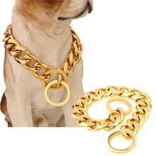 19mm Durable Thickness Gold Stainless Dog Collars Metal Convenient Puppy Dog Chains Training Walking Chain Collars for Big dogs