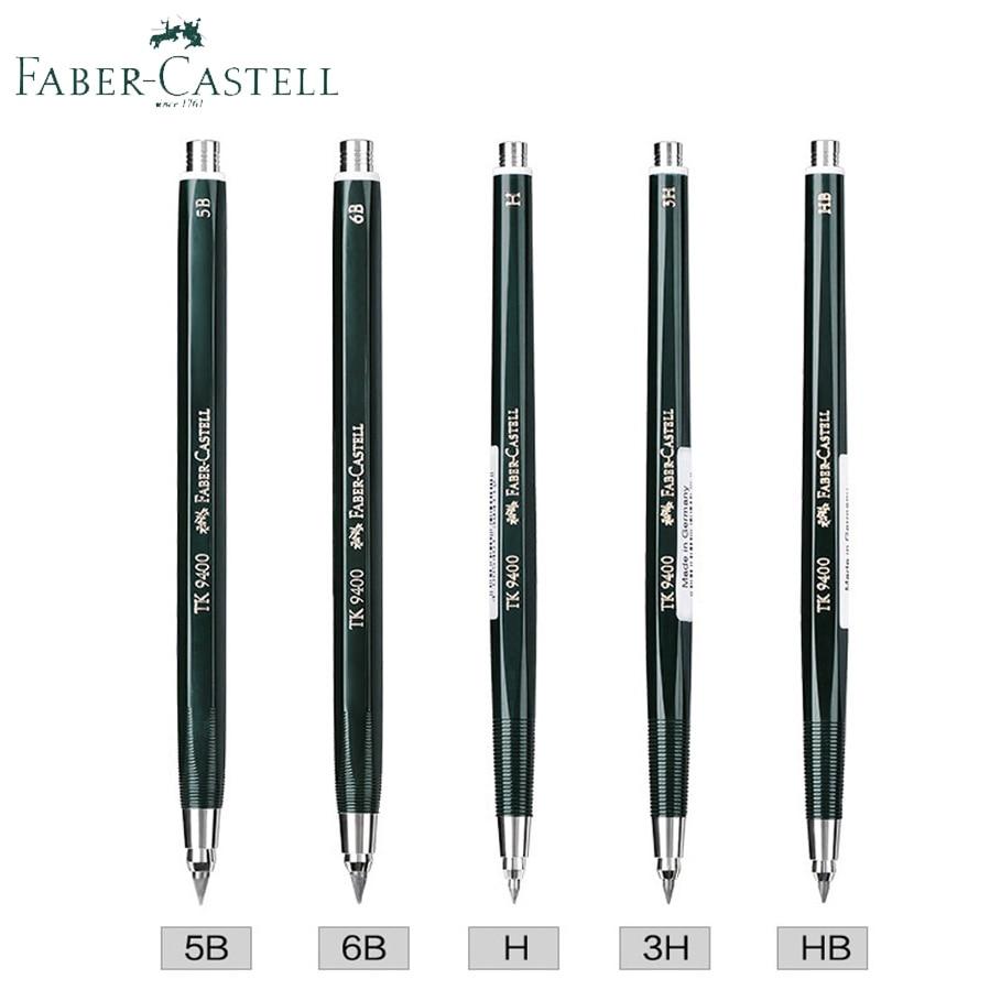 Faber Castell Clutch Pencil TK 9400 2/3.15mm Drafting Mechanical/Automatic Pencils 3H/5B/6B;Includes 2H/3B/F/H/5B/6B Lead Refill