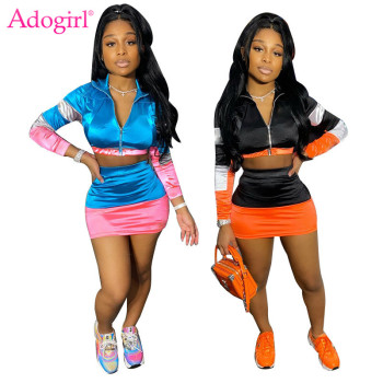 Adogirl Fashion Color Patchwork Two Pieces Set Dress Casual Long Sleeve Zipper Crop Top Mini Skirt Suit Sexy Sporty Tracksuit bomblook sexy off shoulder plush two pieces set long sleeve tube crop top 2020 fashion shorts skirt casual clothing streetwear