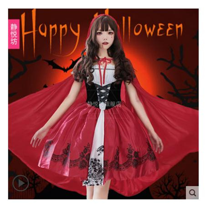 Déguisement Halloween Anime petit chaperon rouge Vampire sorcière Cos robe Cosplay Costume H