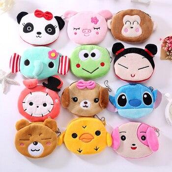 FUDEAM Soft Plush Panda Dog Rabbit Monkey Cartoon Women Coin Purse Mini Cute Oval Zipper Girl Coin Wallet USB Cable Headset Bag