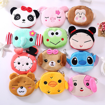 FUDEAM Soft Plush Panda Dog Rabbit Monkey Cartoon Women Coin Purse Mini Cute Zipper Girls Coin Wallet USB Cable Bag Key Wallets