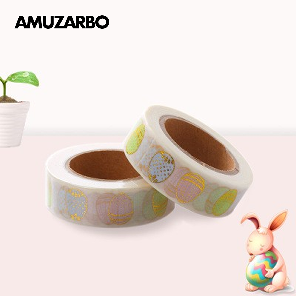 1Pcs Bronzing Washi Paper Tape Cute Egg Sticker DIY Masking Tape Decoration Tape Gift Stationery School Supplies