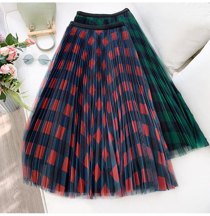 Heeba7a4a2f604b7dba5397b567b5f4f0x - TIGENA Green Red Long Plaid Tutu Tulle Skirt Women Fashion New Elegant A Line High Waist Pleated Maxi Skirt Female Ladies