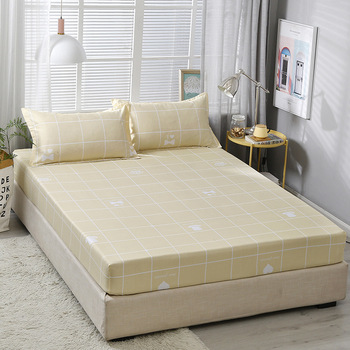 Plaid impreso sábana de cama con funda de almohada de alta calidad bandas elásticas sábanas suaves de poliéster sábanas ajustadas de impresión juego de colchón de cama