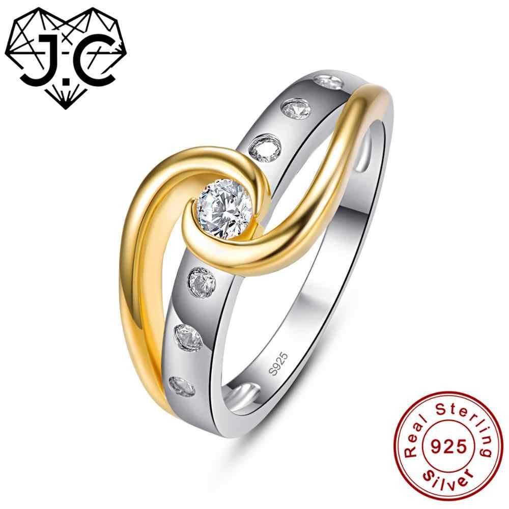 J.C круглой огранки белый топаз 925 пробы Серебряное, Золотое кольцо Размер 6 7 8 9 для женщин мужчин свадебные ювелирные изделия подарок