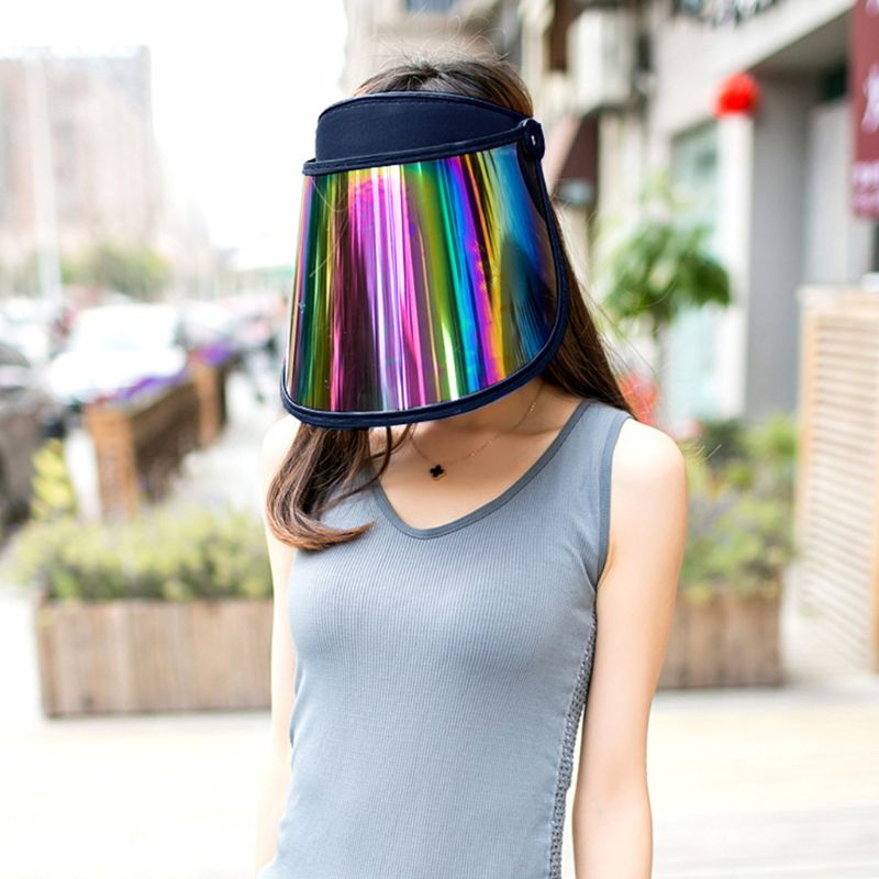 Women Summer Empty Top Sun Visor Hat Rainbow Plastic Panel UV Protection Adjustable Angle Large Wide Brim Motorcycle Beach Cap