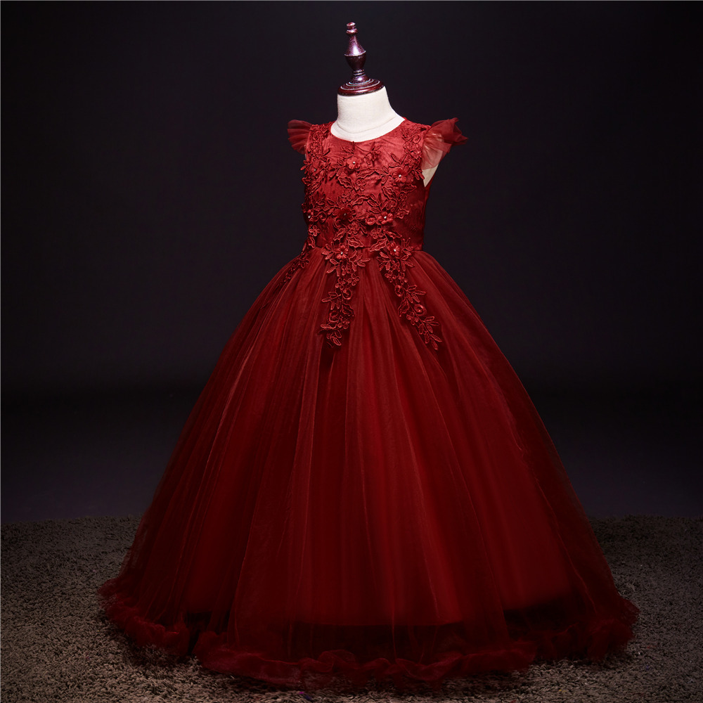 Girls Fall And Winter Clothes New Style Princess Dress Big Boy Host Long Dress Piano Performance Clothing